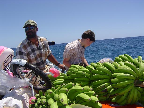 Just one of the cargo - bananas, bike and Liam