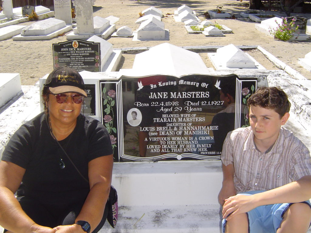 Visiting the grave of my grandmother Here Jane from Manihiki